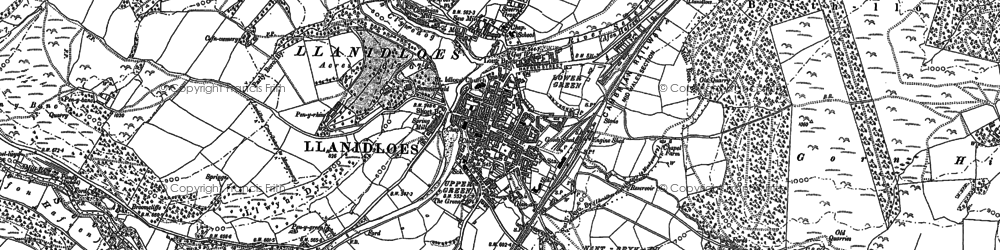 Old map of Llanidloes in 1885