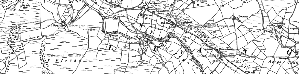 Old map of Allt Pant-mawr in 1885