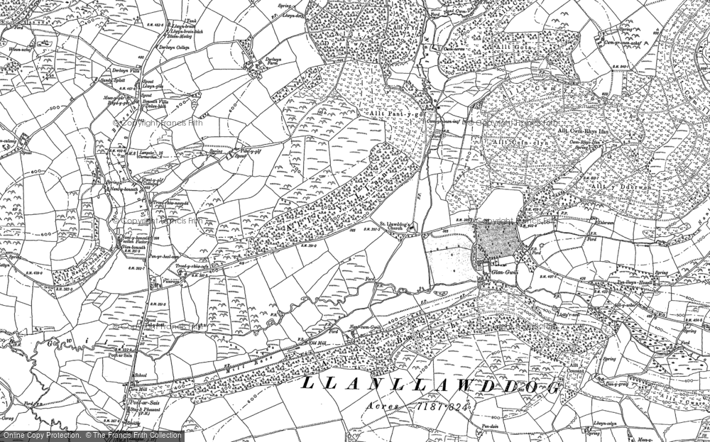 Old Map of Historic Map covering Allt y Bwbach in 1876