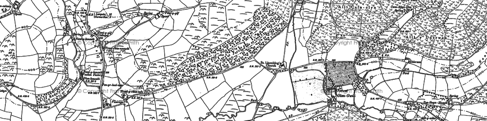 Old map of Afon Pib in 1876