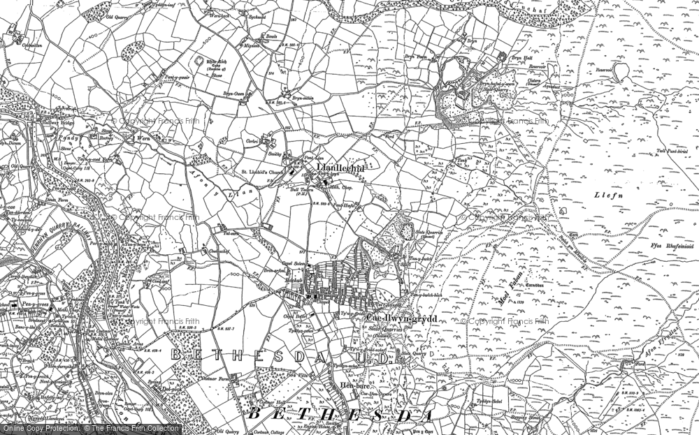 Old Map of Historic Map covering Afon y Llan in 1888