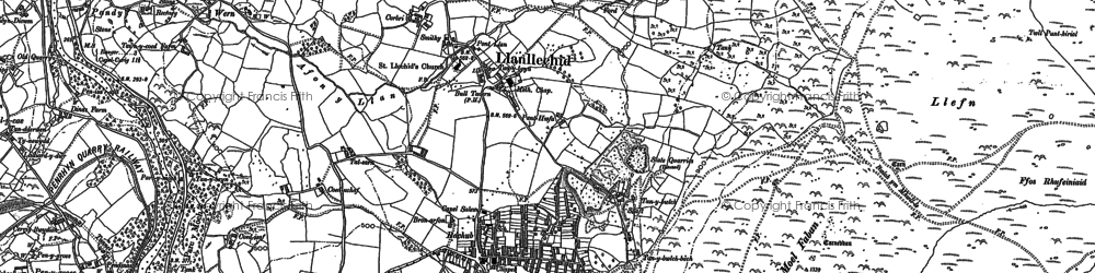 Old map of Llanllechid in 1888