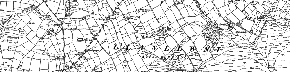 Old map of Abercwm in 1887