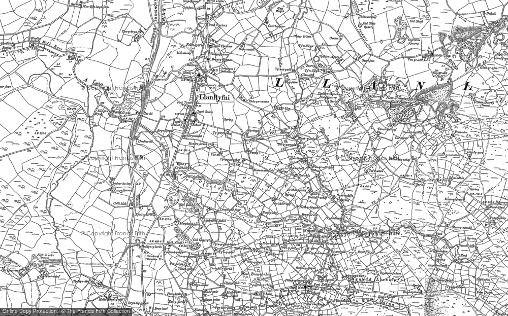 Old Map of Historic Map covering Afon Ddu in 1887