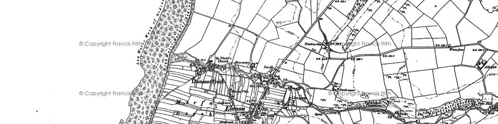 Old map of Llanon in 1904