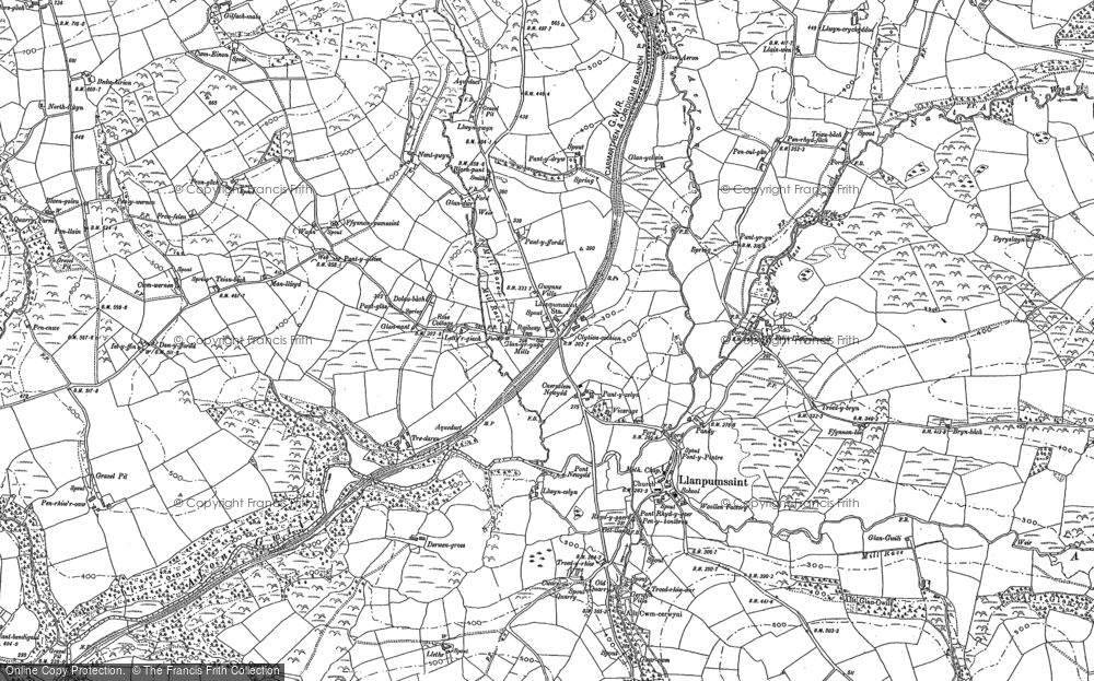 Old Map of Historic Map covering Alltgaredig in 1887