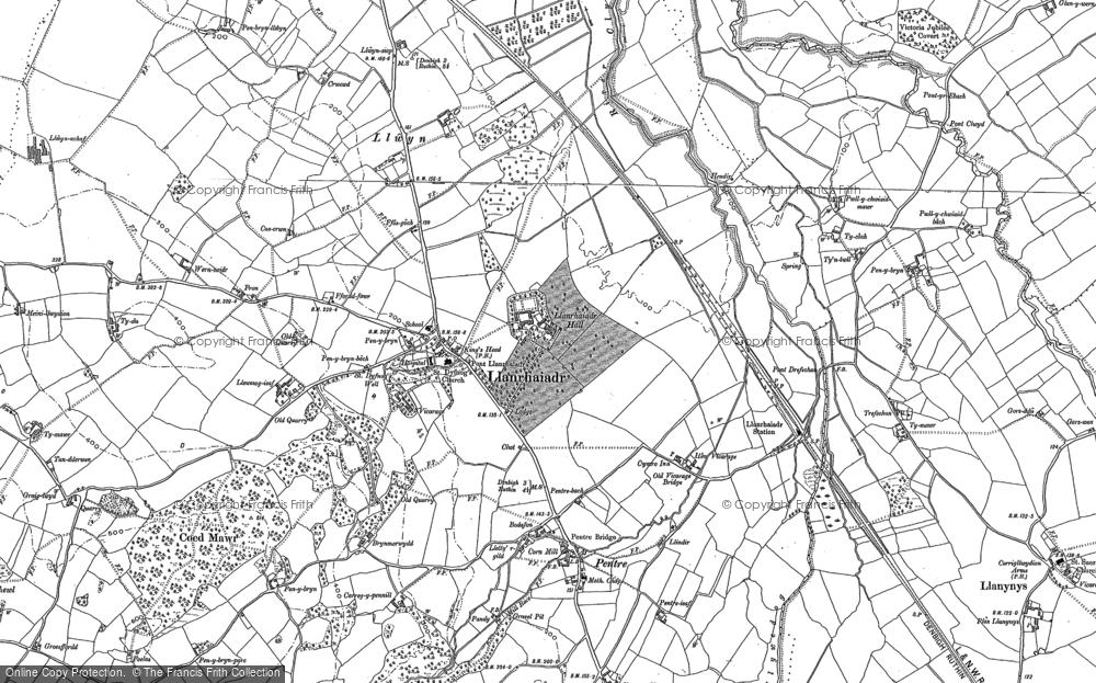 Old Map of Llanrhaeadr, 1910 in 1910