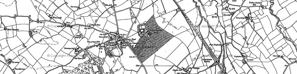 Old map of Llanrhaeadr in 1910