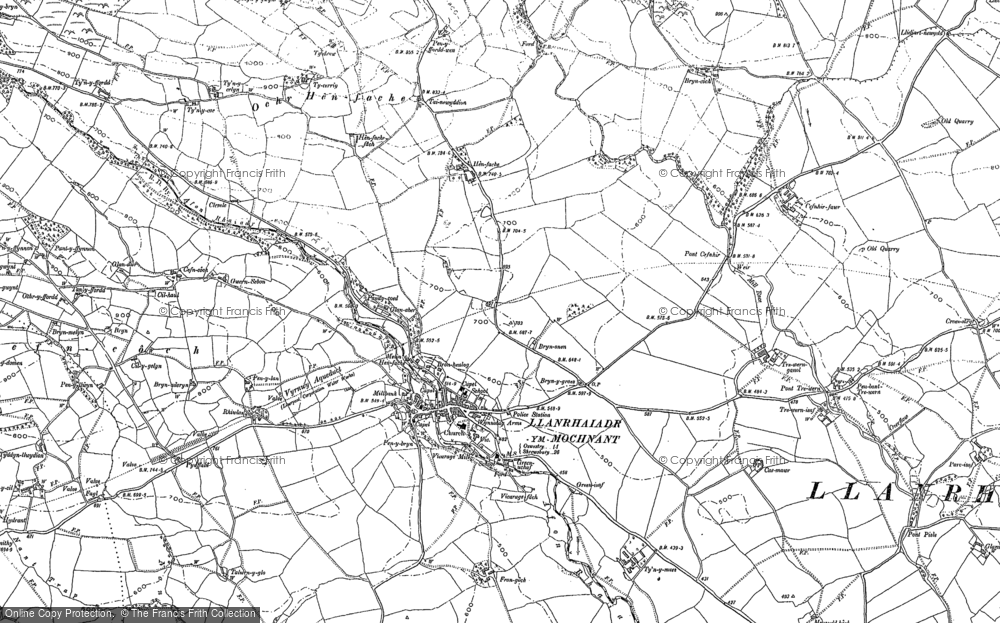 Old Map of Historic Map covering Afon lwrch in 1900