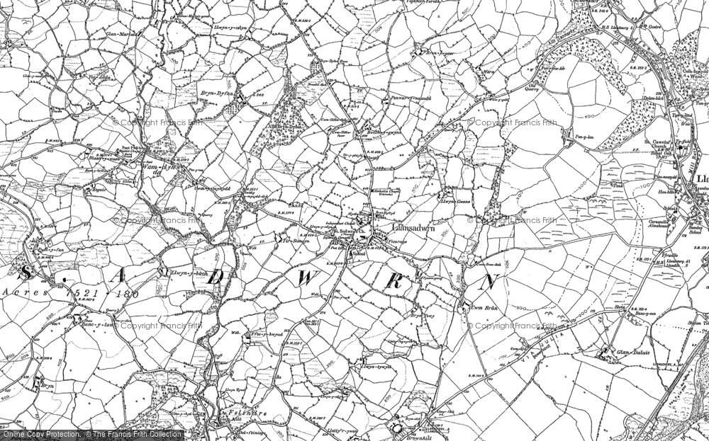 Old Map of Historic Map covering Aberdeunant in 1884