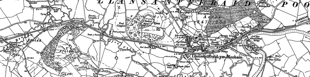 Old map of Llansanffraid-ym-Mechain in 1900