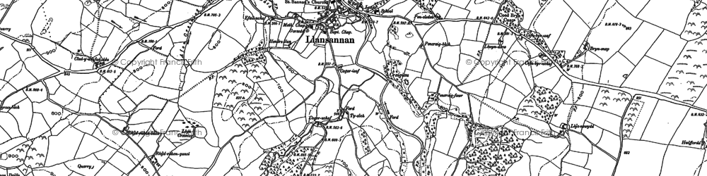 Old map of Acrau in 1899