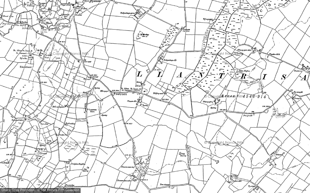 Old Map of Historic Map covering Afon Alaw in 1887