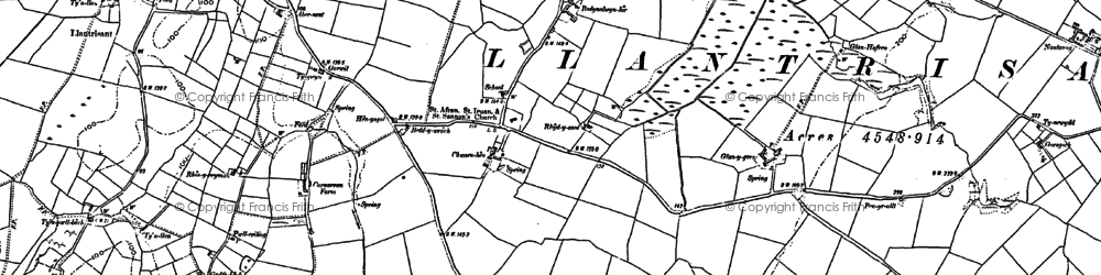 Old map of Afon Alaw in 1887