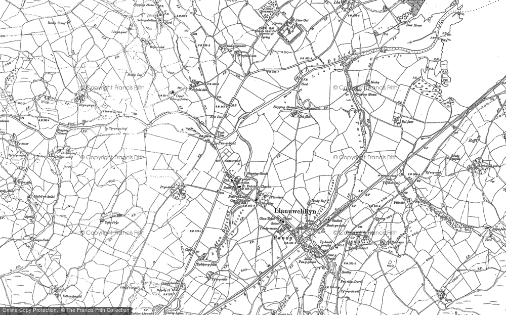 Old Map of Historic Map covering Afon Dyfrdwy in 1886