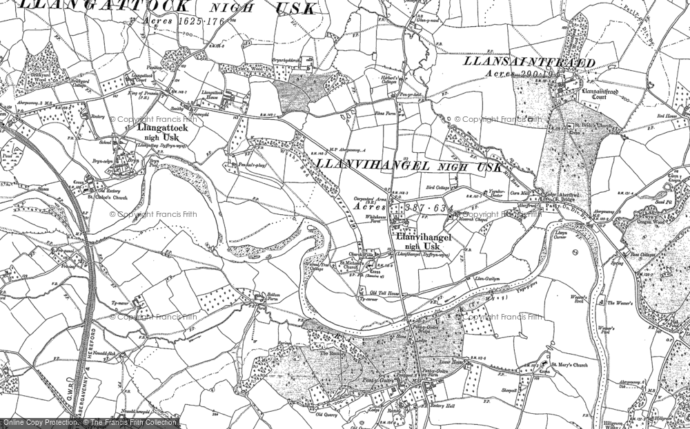 Old Map of Historic Map covering Aberffrwd in 1899