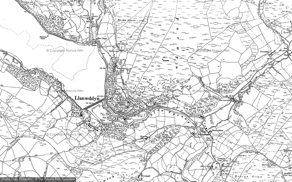 Old Map of Historic Map covering Afon Cownwy in 1885