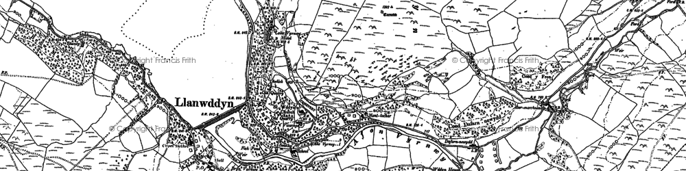Old map of Afon Cownwy in 1885