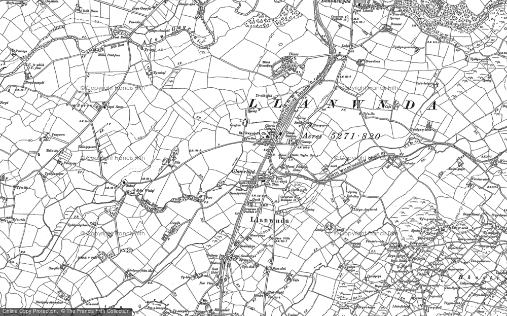 Old Map of Historic Map covering Afon Carrog in 1899