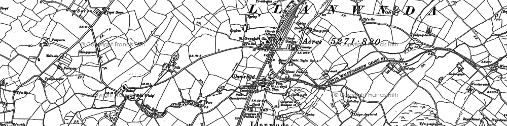 Old map of Afon Carrog in 1899