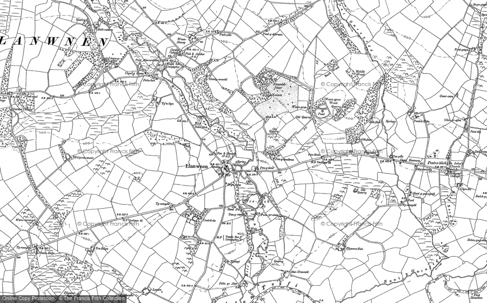 Old Map of Historic Map covering Afon Grannell in 1887