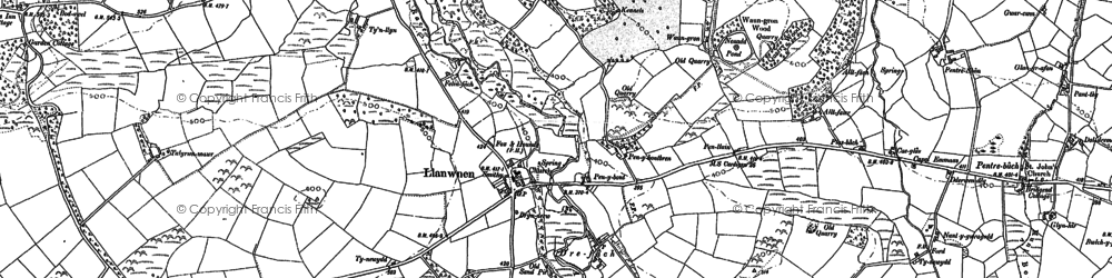 Old map of Afon Grannell in 1887