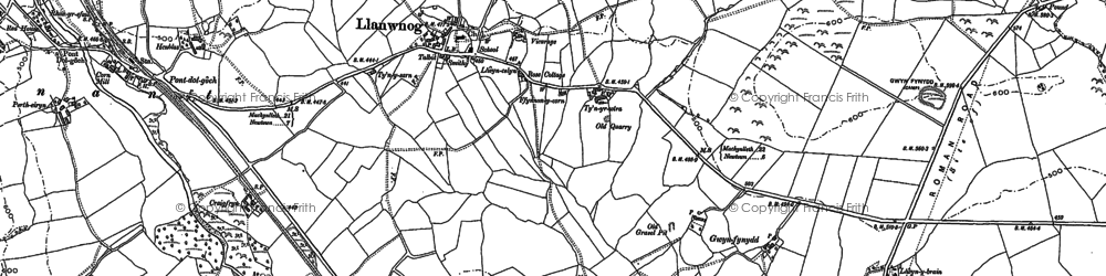 Old map of Afon Carno in 1885