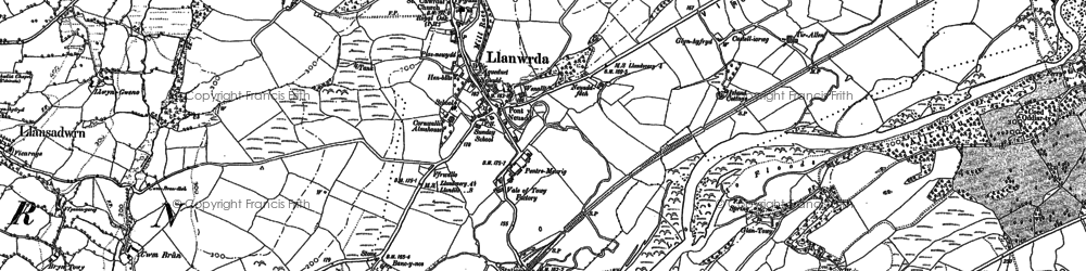 Old map of Cwmdwr in 1885