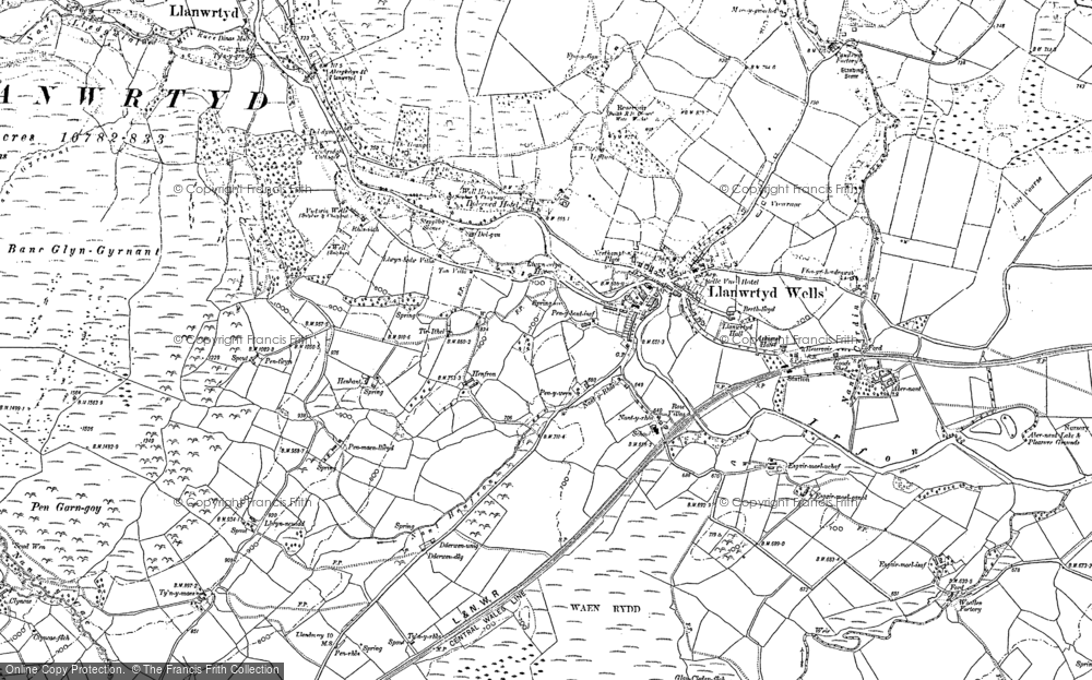 Old Map of Historic Map covering Alltwineu in 1887