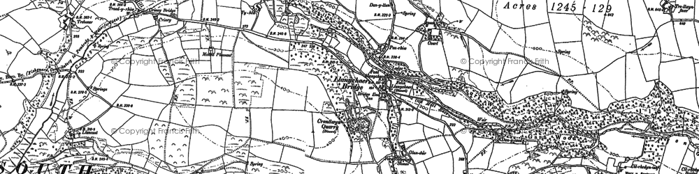 Old map of Afon Gwaum in 1887