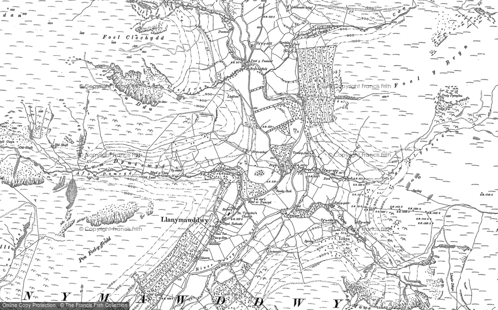 Old Map of Historic Map covering Afon Pumryd in 1900