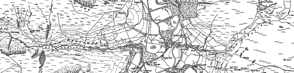 Old map of Afon Rhiwlech in 1900