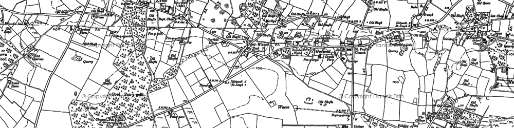 Old map of Ffordd Las in 1898