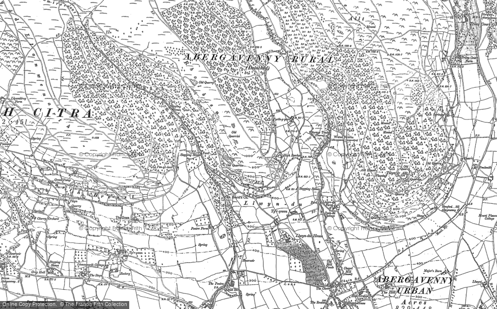 Old Map of Historic Map covering Afon Cibi in 1899