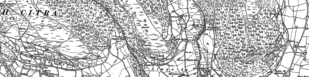 Old map of Afon Cibi in 1899
