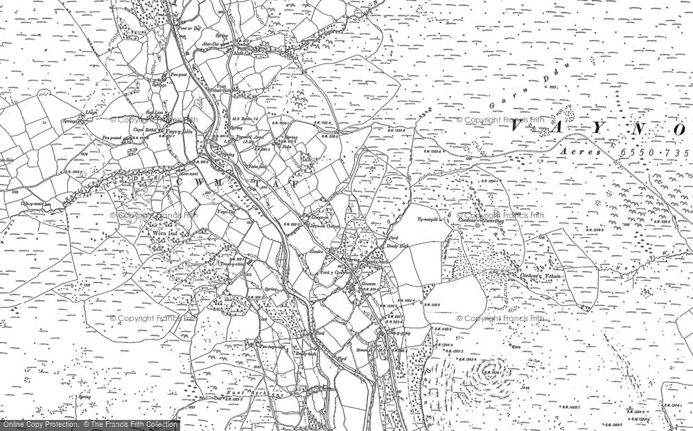 Old Map of Llwyn-on Village, 1884 in 1884
