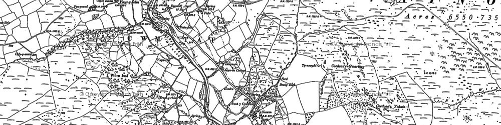 Old map of Llwyn-on Village in 1884