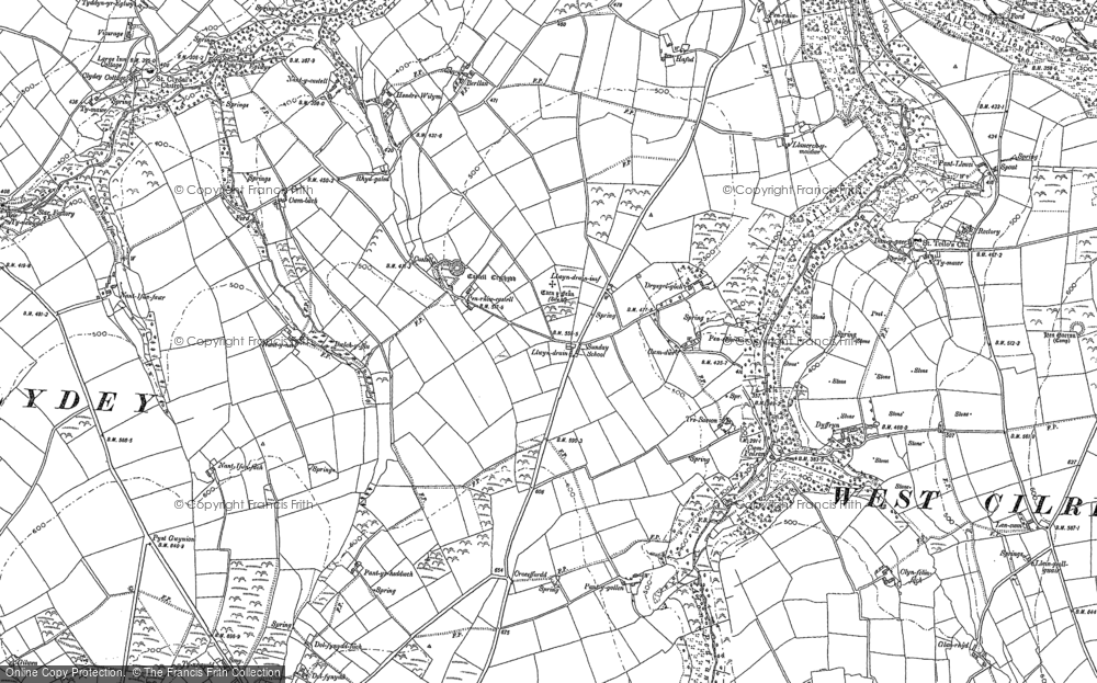 Old Map of Historic Map covering Afon Pedian in 1904