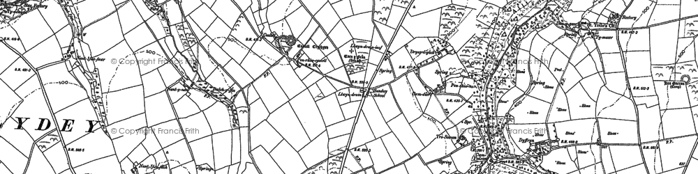 Old map of Afon Pedian in 1904