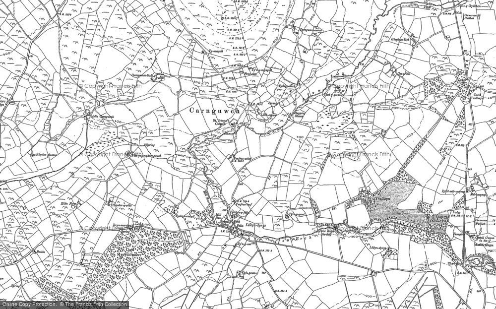 Old Map of Historic Map covering Ysgubor Plas in 1899