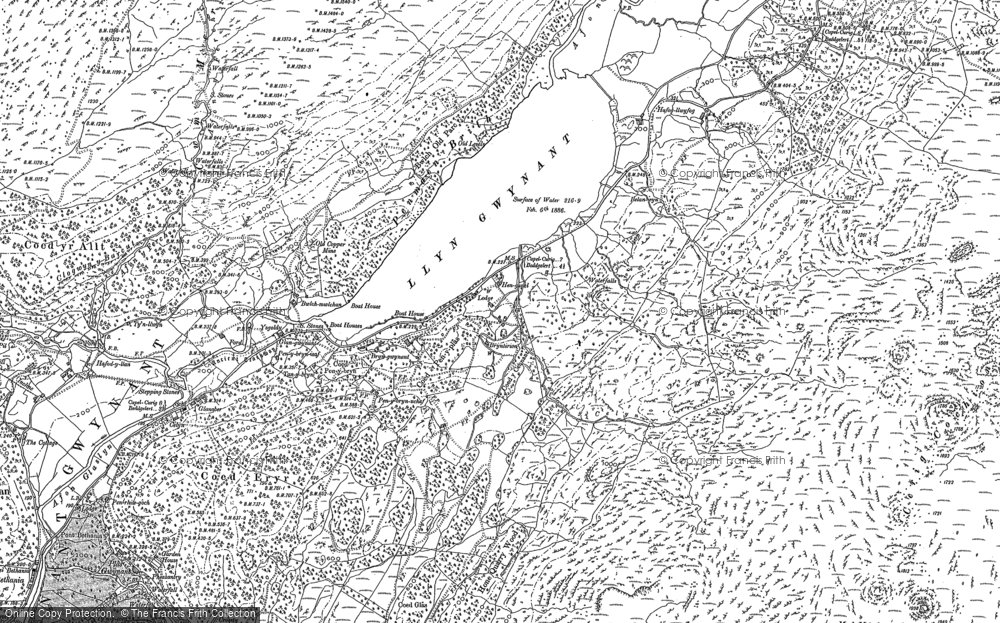 Old Map of Historic Map covering Afon Llynedno in 1888