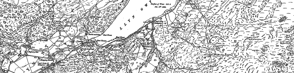 Old map of Afon Llynedno in 1888
