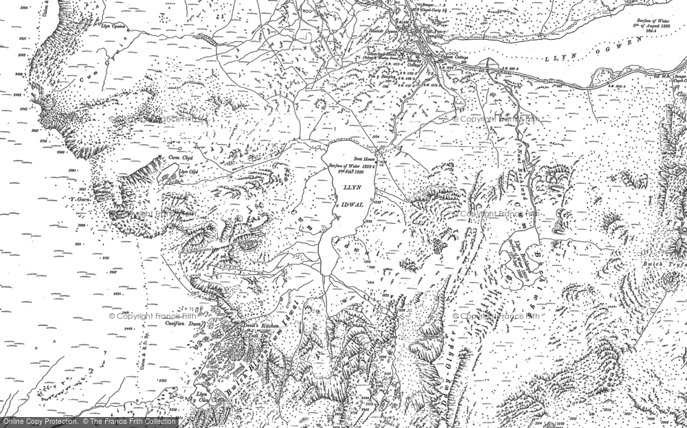 Old Map of Historic Map covering Afon Nant Peris in 1888
