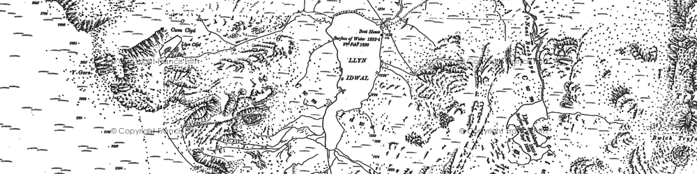 Old map of Afon Nant Peris in 1888
