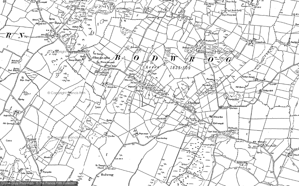 Old Map of Historic Map covering Afon Caradog in 1887