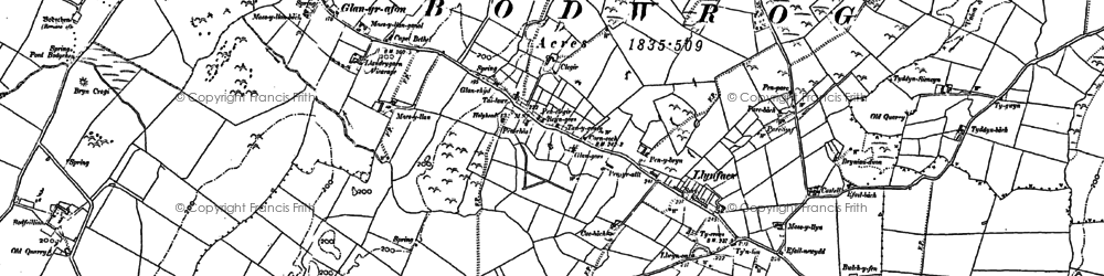 Old map of Afon Caradog in 1887
