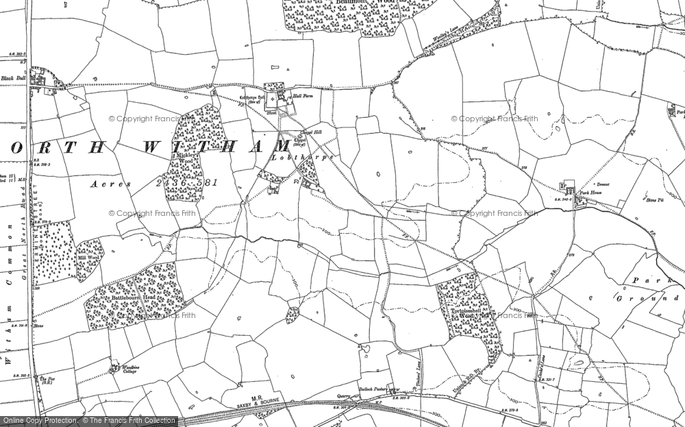 Old Map of Historic Map covering Todd's Lodge in 1887