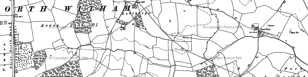 Old map of Witham Common in 1887