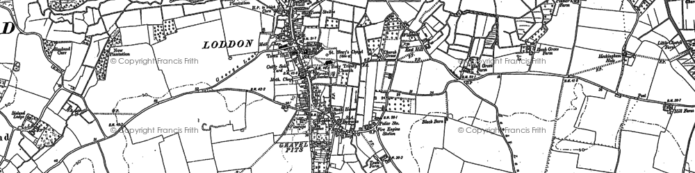 Old map of Loddon in 1884