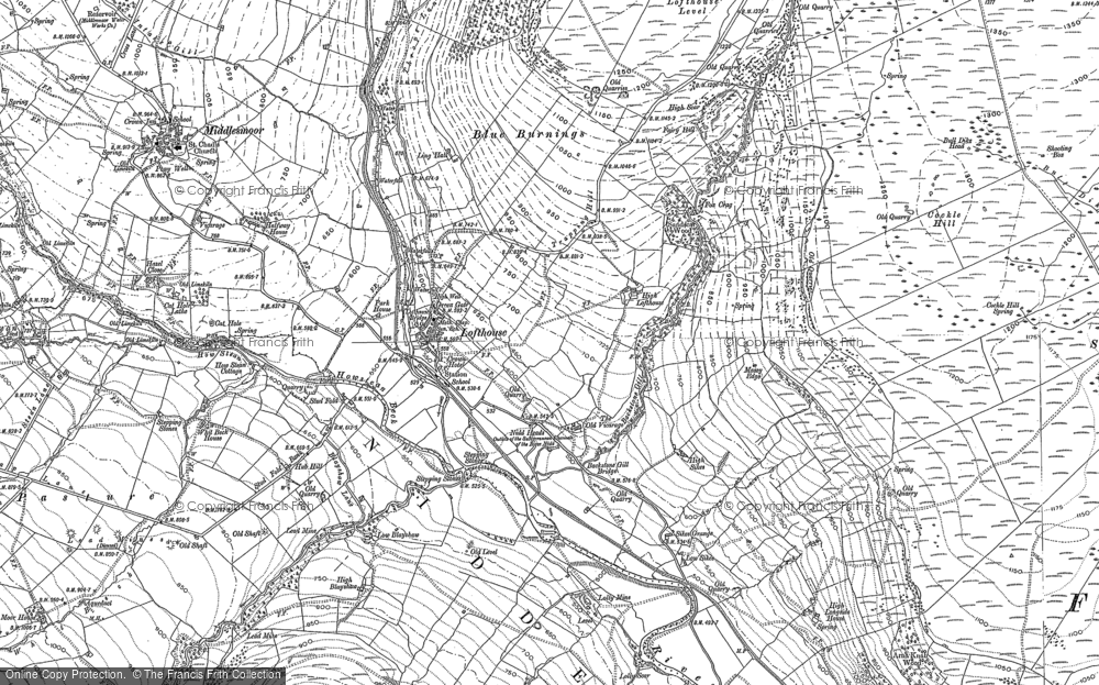 Old Map of Historic Map covering Ling Hall in 1890